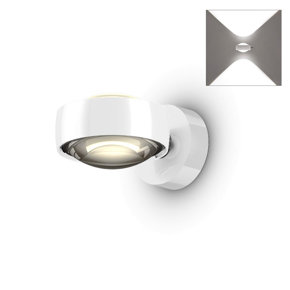 Occhio Sento D LED verticale up Wandleuchte, 2700 K, Chrom / weiß glänzend