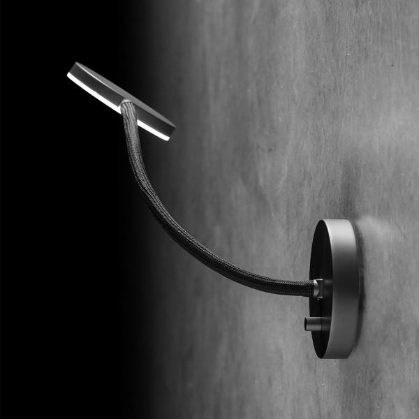 Holtkötter Flex W Wandleuchte, Aluminium-matt / schwarz