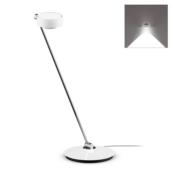 Occhio Sento C LED tavolo Tischleuchte, 80 cm, Chrom / weiß glänzend (Ausrichtung rechts)
