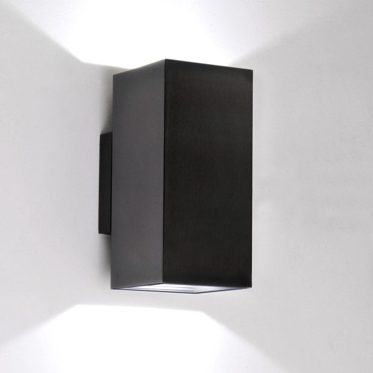 Milan Dau Doble LED Wandleuchte, schwarz satiniert gebürstet