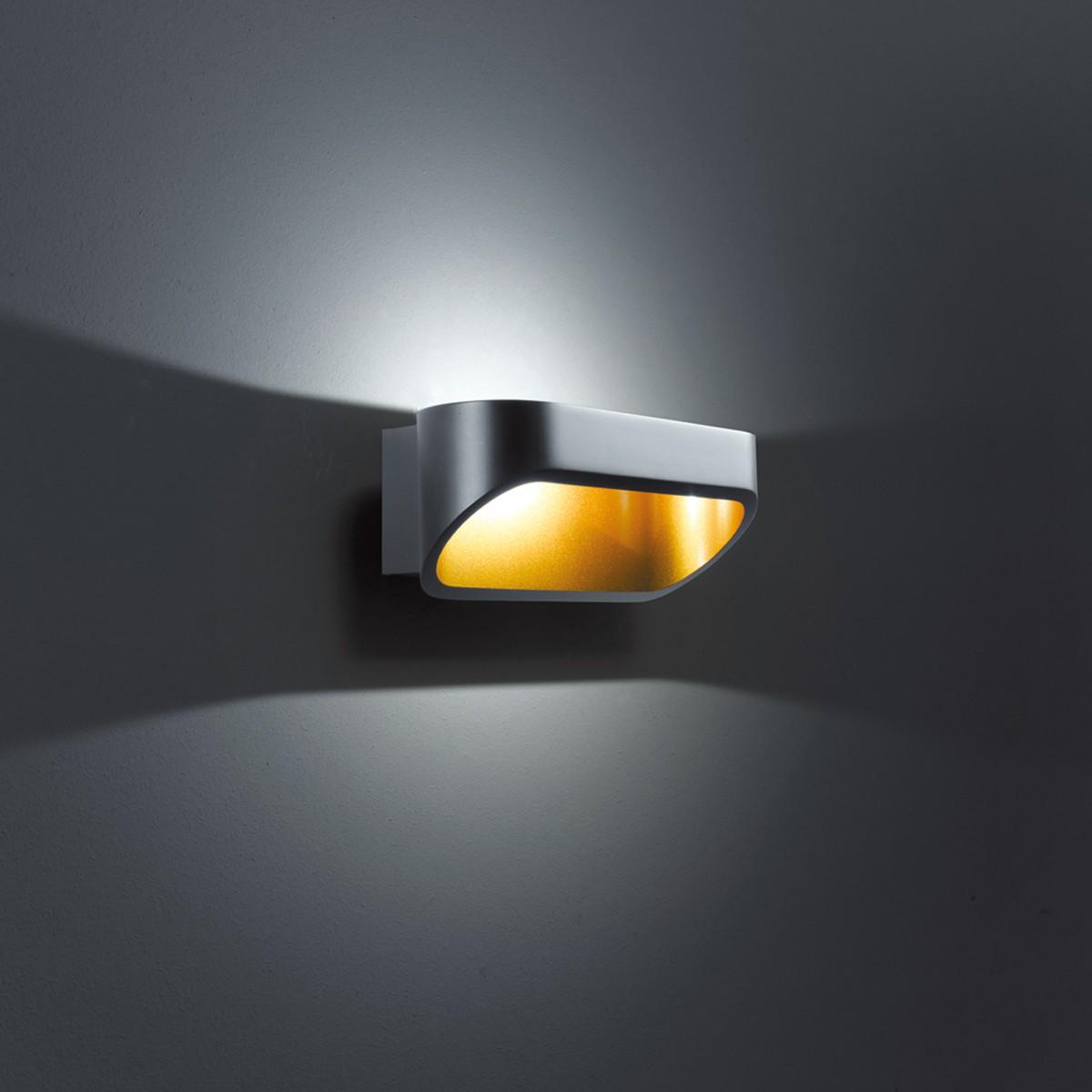 Helestra Onno Wandleuchte, schwarz / Gold, Länge: 18 cm