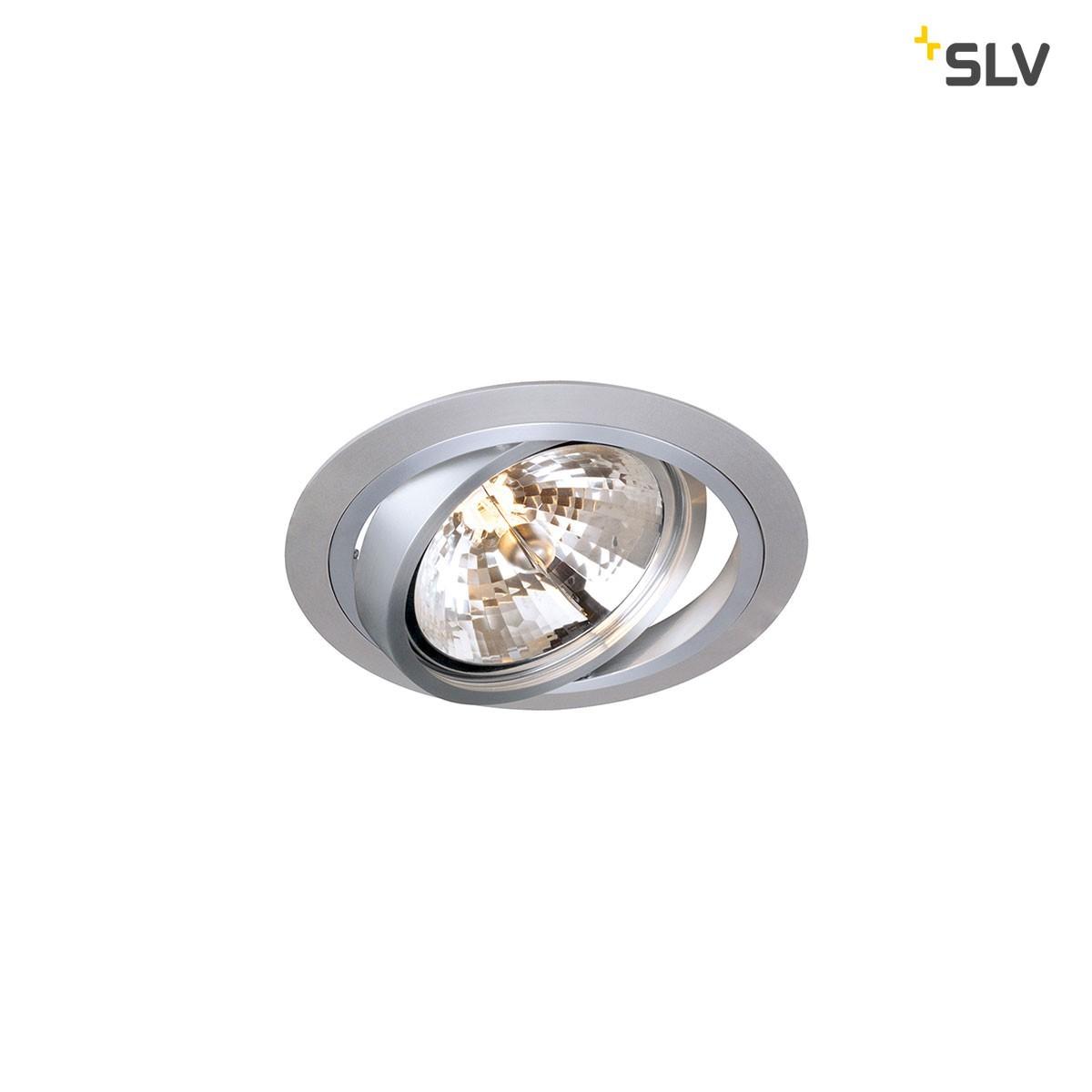 SLV New Tria Einbaustrahler, rund, G53, Aluminium gebürstet