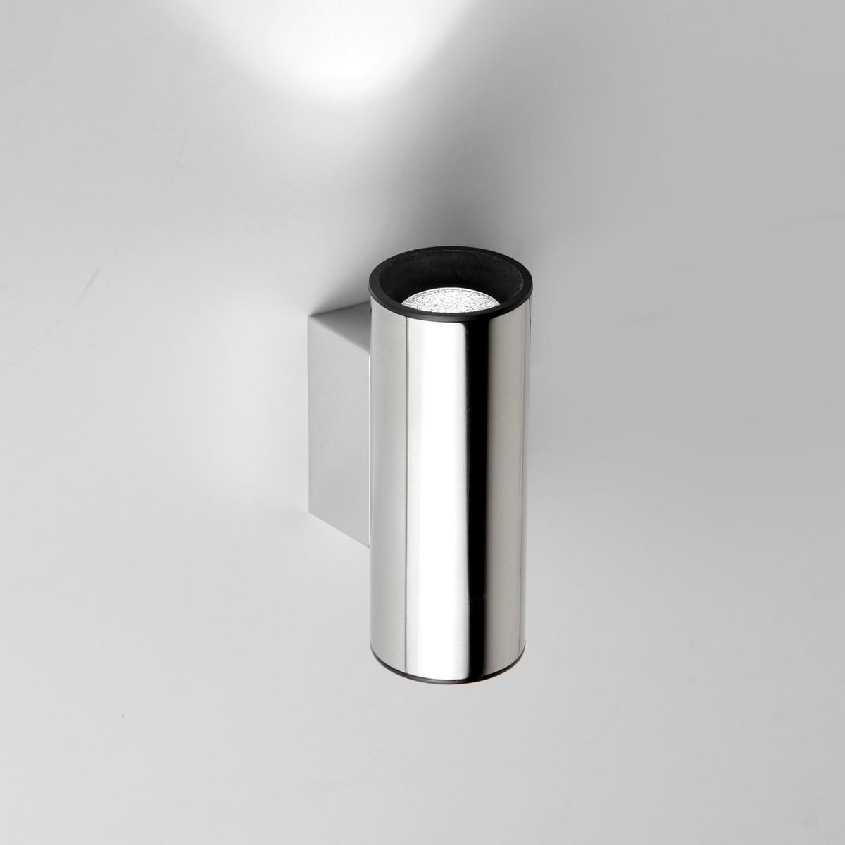 Milan Tub LED Wandleuchte, 1-flg., Edelstahl poliert / schwarz