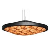 LZF Lamps Cervantes LED Pendelleuchte, Metallkörper: schwarz, innen: Kirsche (eingeschaltet)