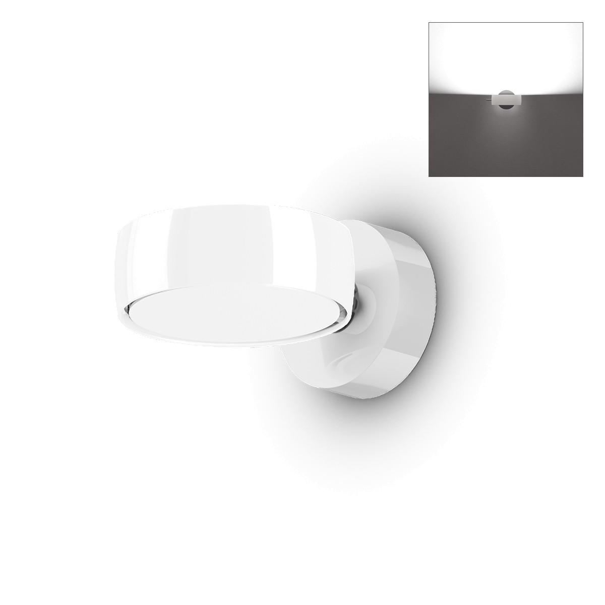 Occhio Sento B LED verticale up Wandleuchte, 2700 K, Chrom / weiß glänzend