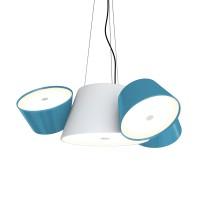 Tam Tam Mini Pendelleuchte, Zentralschirm: weiß, Schirme: blau