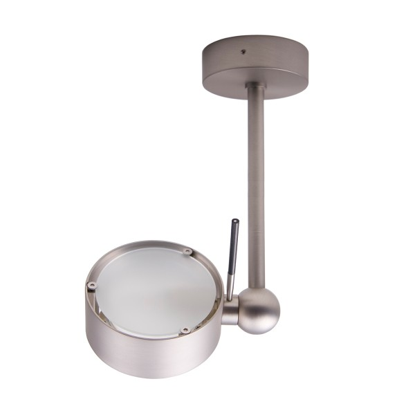 Top Light Puk Side Single LED, 20 cm, Nickel matt, Glas satiniert / Linse klar