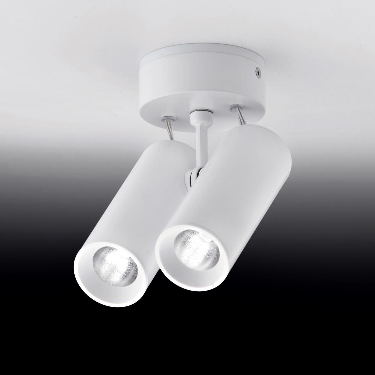 Milan Tub LED 632x Deckenstrahler, 2-flg., weiß lackiert
