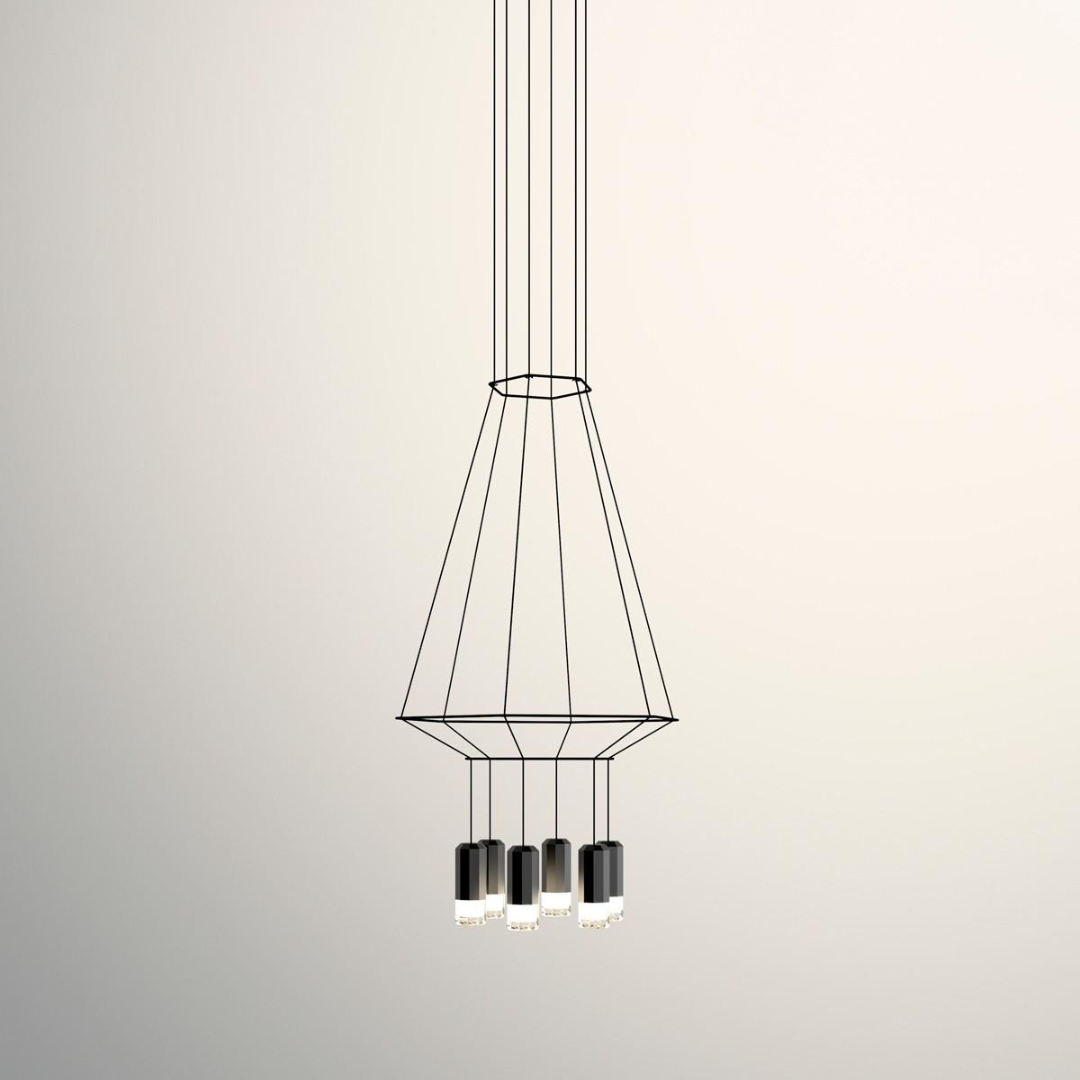 Vibia Wireflow Pendelleuchte, 6-flg., 90 x 104 cm, schwarz
