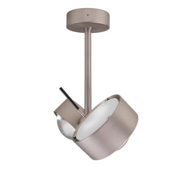 Top Light Puk Side Twin LED, 20 cm, Nickel matt, mit Einsätzen Glas satiniert / Linse klar
