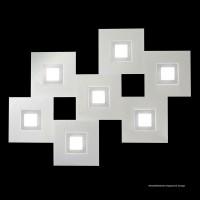 Karree Wand- / Deckenleuchte, 7-flg., perlglanz, Rahmen: Titan