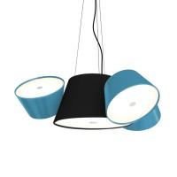 Tam Tam Mini Pendelleuchte, Zentralschirm: schwarz, Schirme: blau