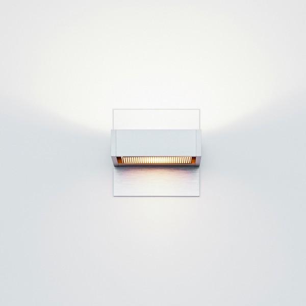 Serien.lighting SML Wall, S, Breite: 8,5 cm, Alu silber eloxiert, Gläser: satinée / Raster, mit SML Wall Wandabdeckung, S, Breite: 8,5 cm, Alu silber eloxiert