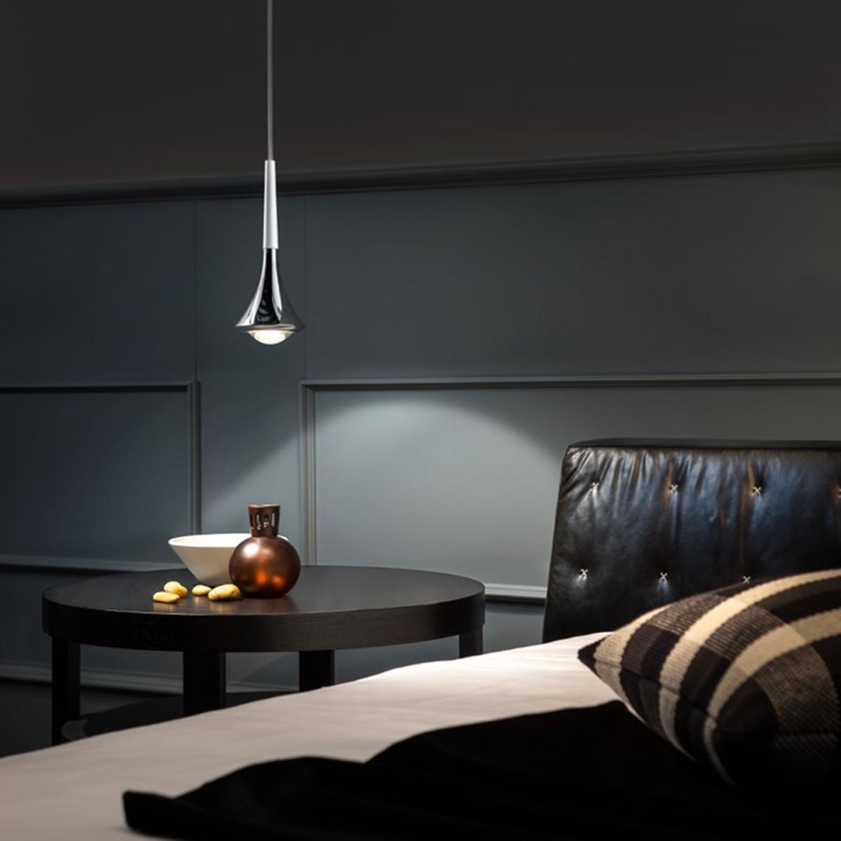 Studio Italia Design Rain Pendelleuchte 1-flg. 2700°K, Chrom - weiß matt