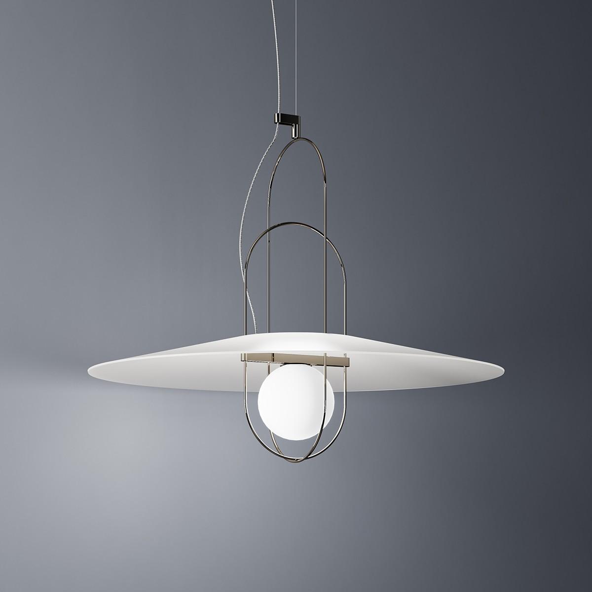 Fontana Arte Setareh 4381 LED Pendelleuchte, schwarz Nickel / Schirm: weiss