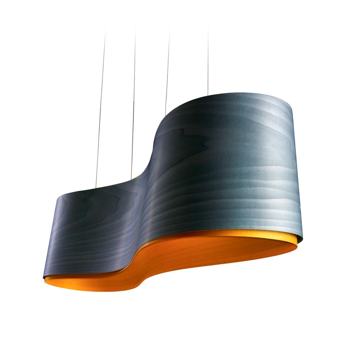 LZF Lamps New Wave Pendelleuchte, blau, innen: gelb