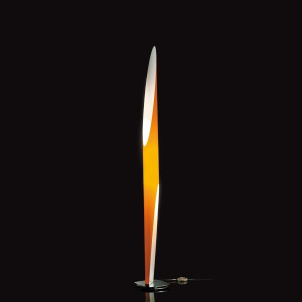 Belux Shakti 200 Stehleuchte, orange, Basis: Edelstahl poliert