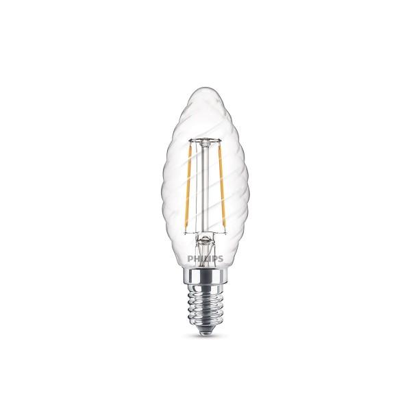 Philips LED Classic Kerze gerillt E14 2 W, warmweiß, klar