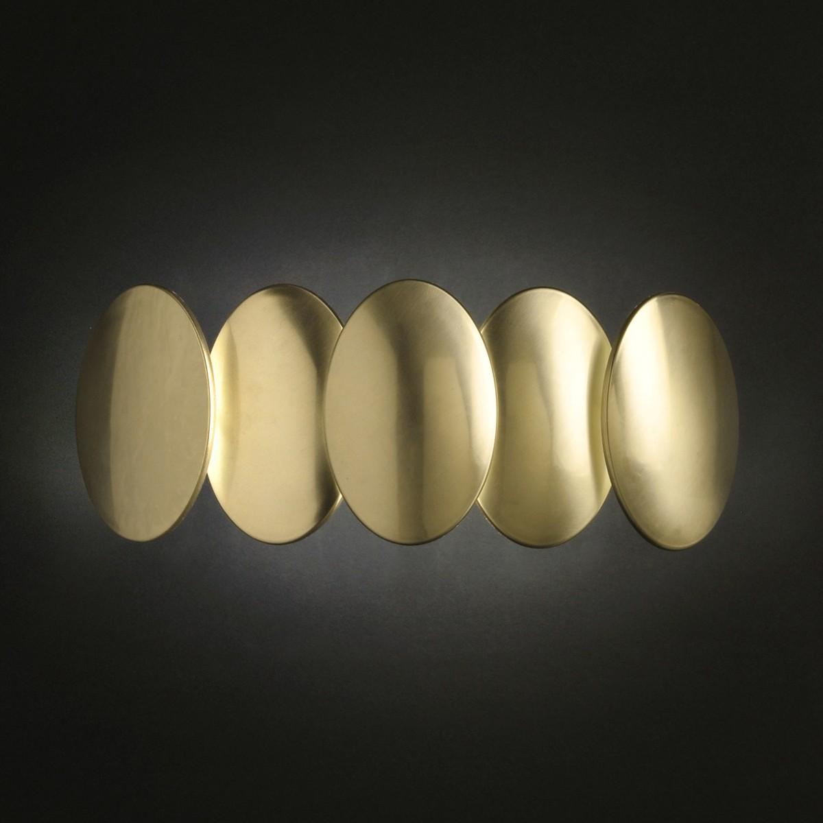 Milan Obolo Wandleuchte, 2-flg., Goldoptik gebürstet