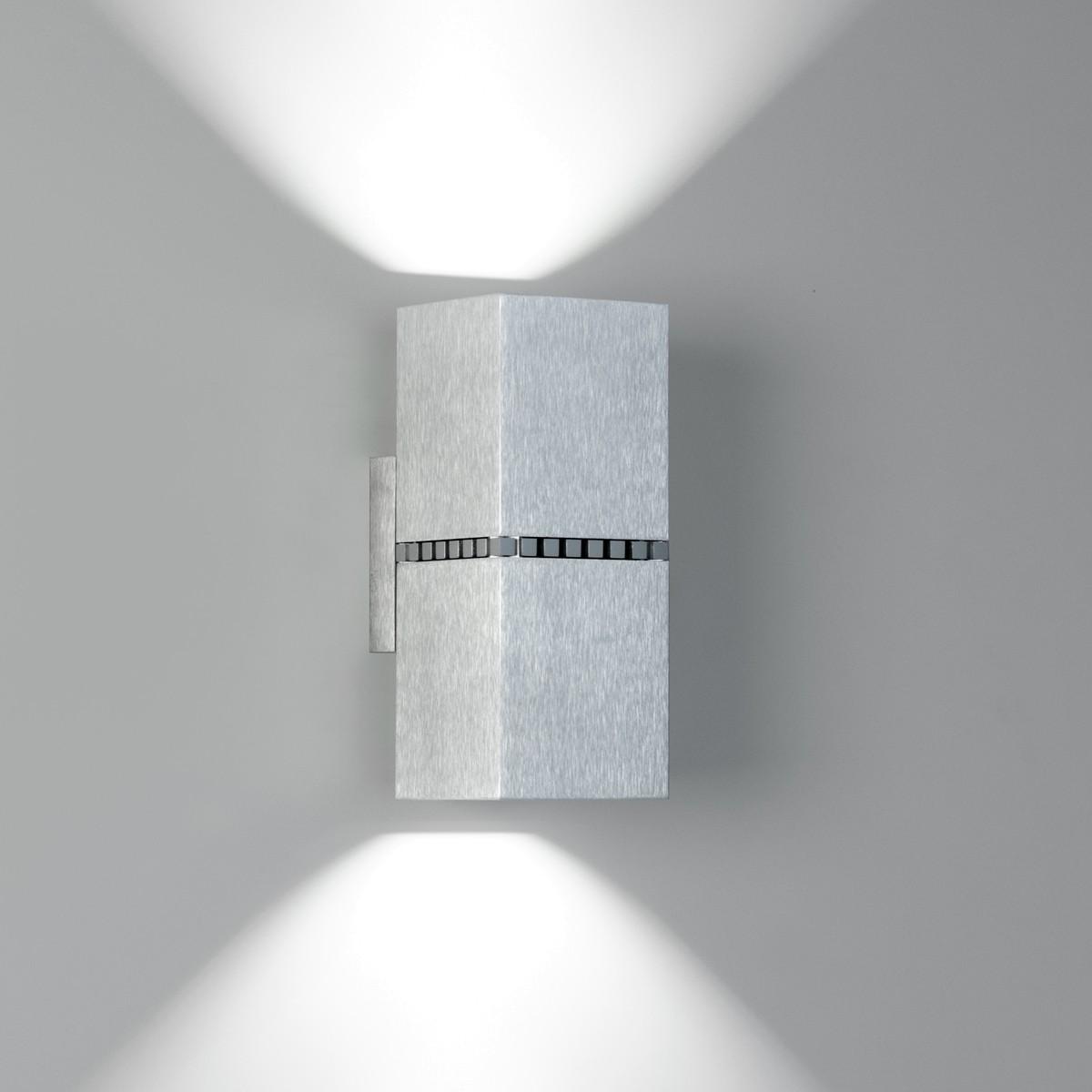 Milan Dau Doble Spot LED Wandleuchte, Aluminium gebürstet