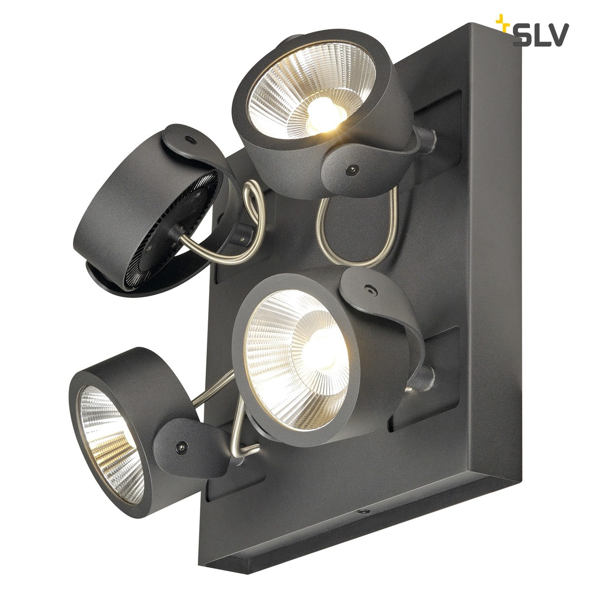 SLV Kalu LED Wand- / Deckenleuchte Square, 4-flg. 60°, schwarz