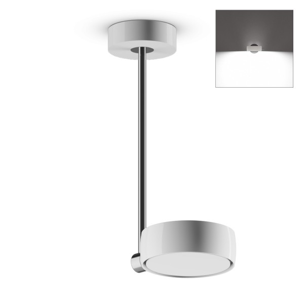 Occhio Sento B LED faro up, 30 cm, Chrom / weiß glänzend