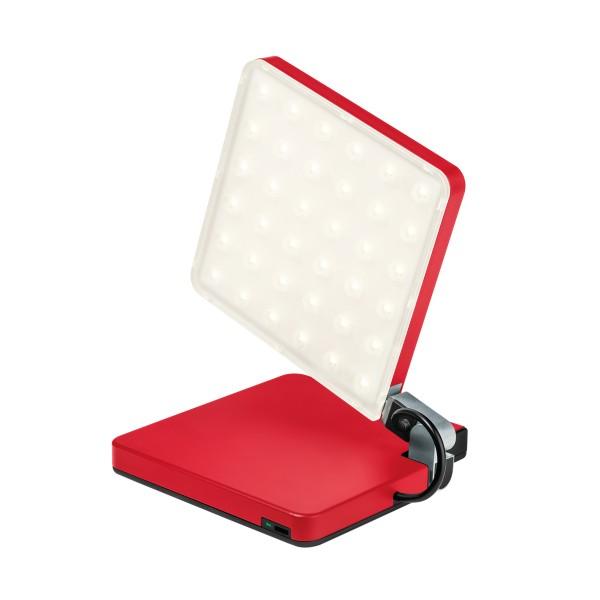 Nimbus Roxxane Fly CL Akkuleuchte, rot, Blick auf die Micro-USB-Schnittstelle