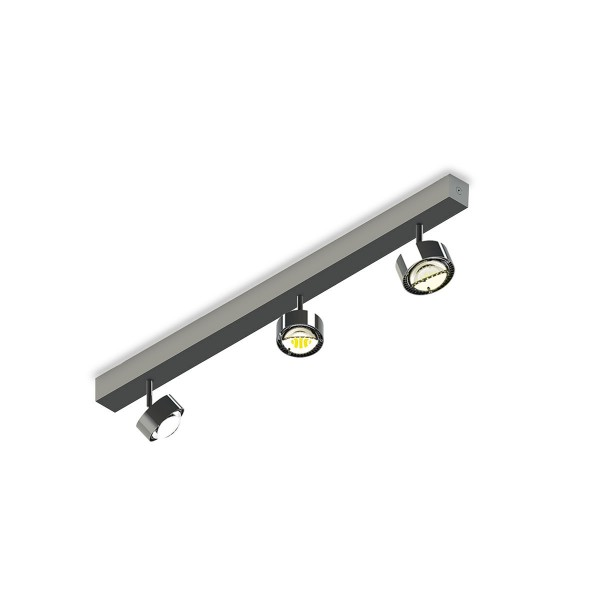 Top Light Puk Choice Turn LED Deckenleuchte, 65 cm, Chrom, mit Linsen klar