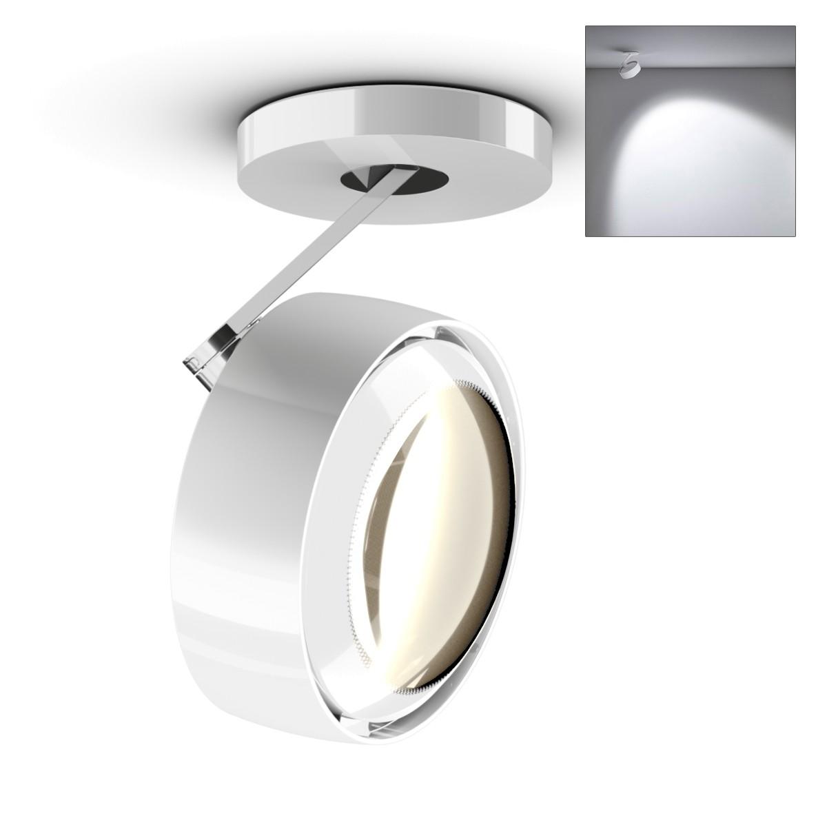 Occhio Più alto 3d Volt S80 Deckenstrahler, 2700 K, weiß glänzend / Chrom