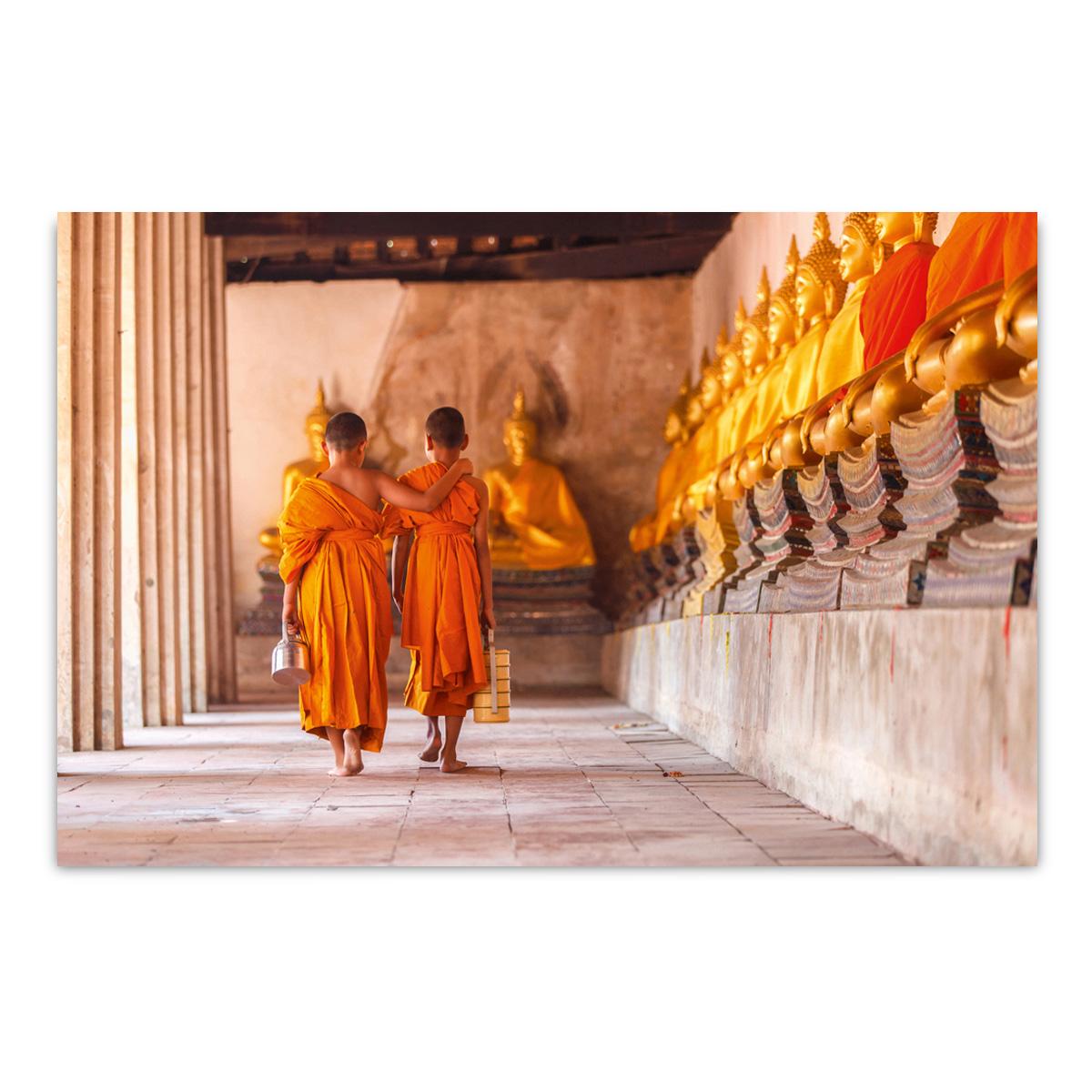 ImageLand Glasbild Digitaldruck Buddhistische Mönche, 80 x 120 cm 852974