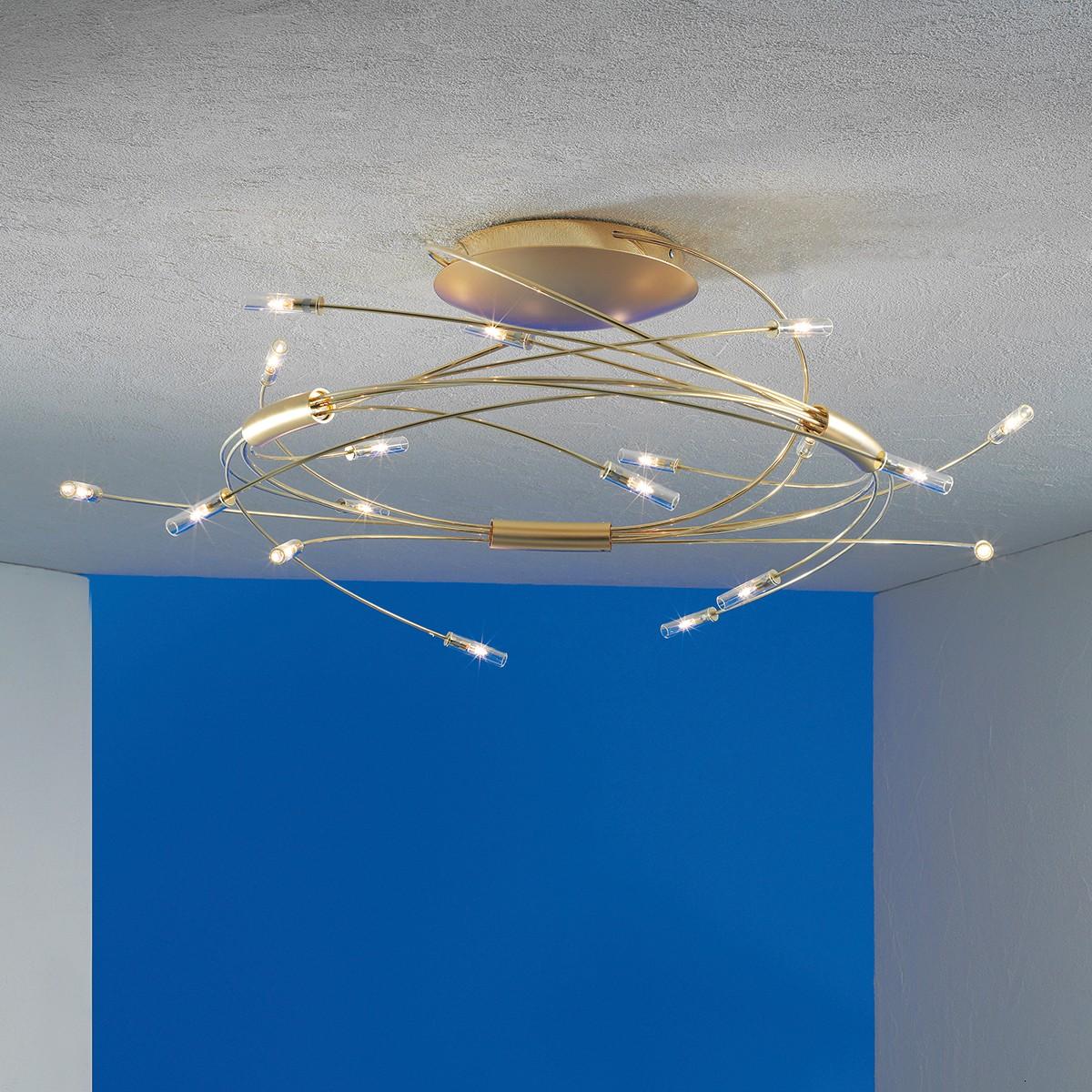 Escale Spin Deckenleuchte, vergoldet, 18-flg.