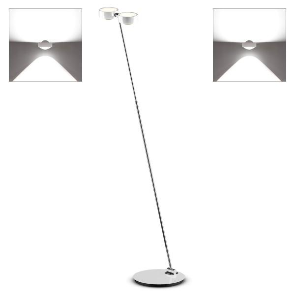 Occhio Sento E LED terra Stehleuchte, 2700 K, Chrom / weiß glänzend