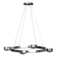 Top Light Puk Crown LED M Pendelleuchte, Chrom, ausgestattet mit Glas satiniert / Linse klar