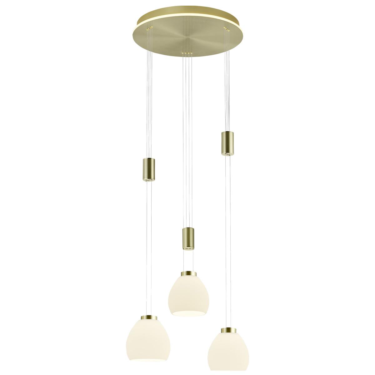 B-Leuchten Sam LED Pendelleuchte, 3-flg., mit Rondell 20454/3-01