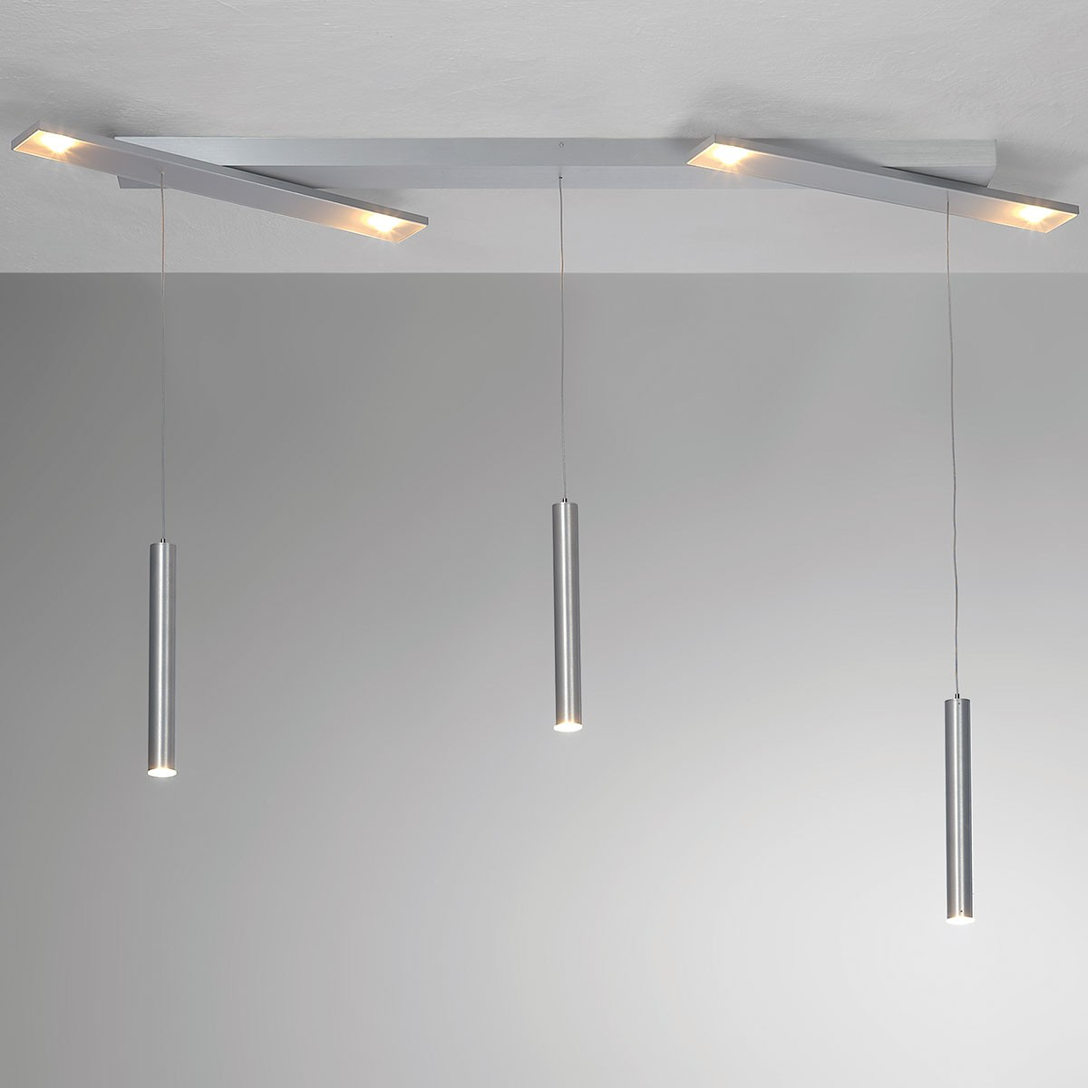 Bopp Plus LED Pendelleuchte, 7-flg., Aluminium geschliffen