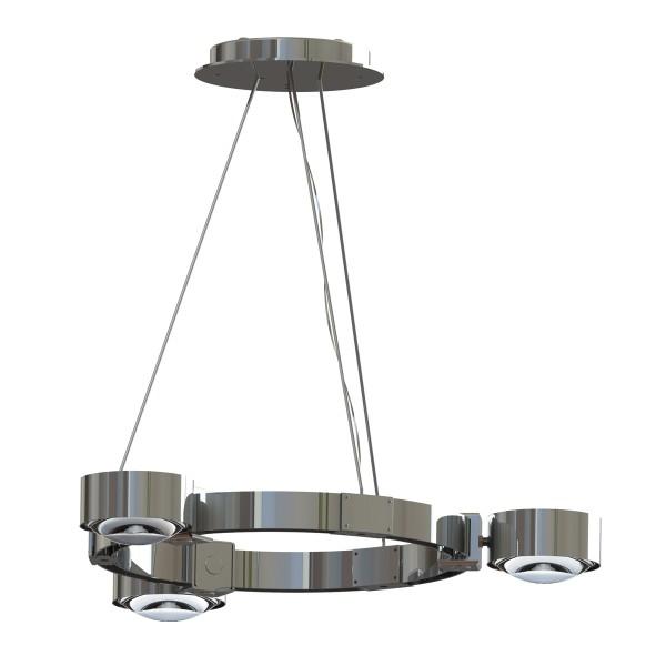 Top Light Puk Maxx Crown S Pendelleuchte, Chrom, Glas satiniert / Linse klar