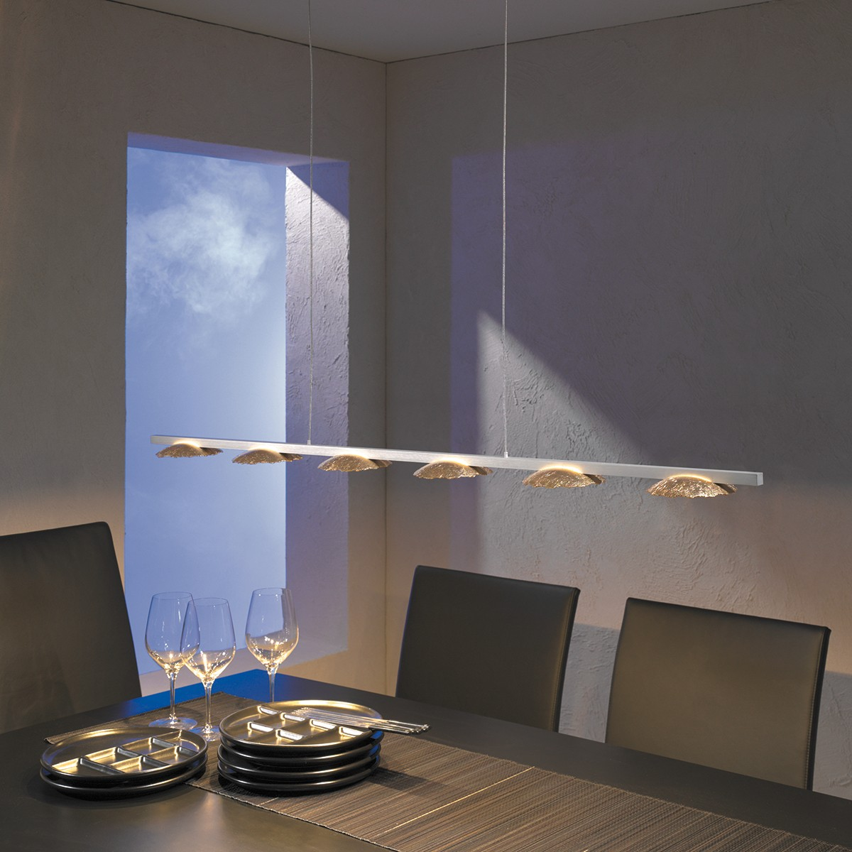 Escale Medusa LED Pendelleuchte, Blattgold, mit Casambi-Modul