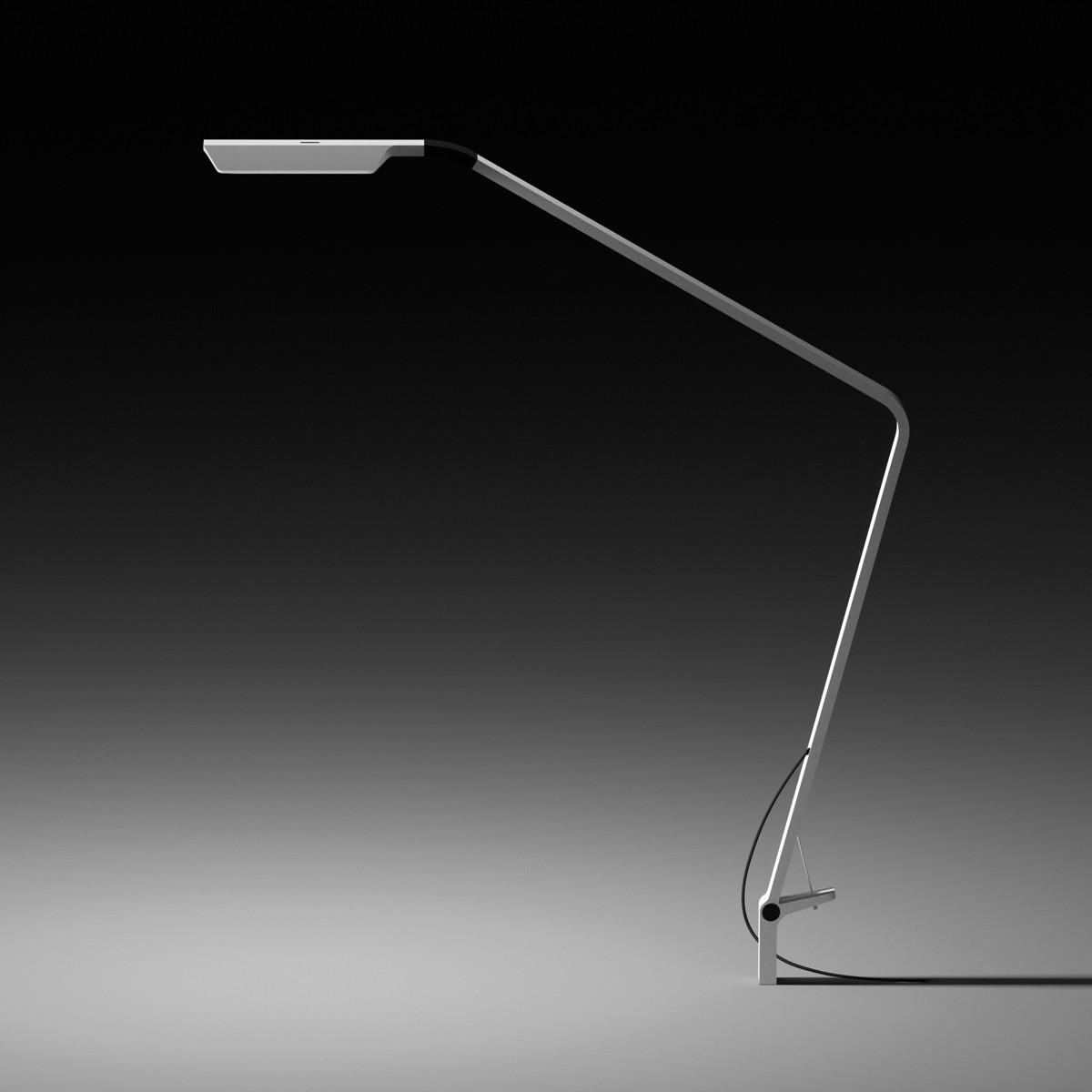 Vibia Flex Tischleuchte mit Einbauadapter, weiß glänzend