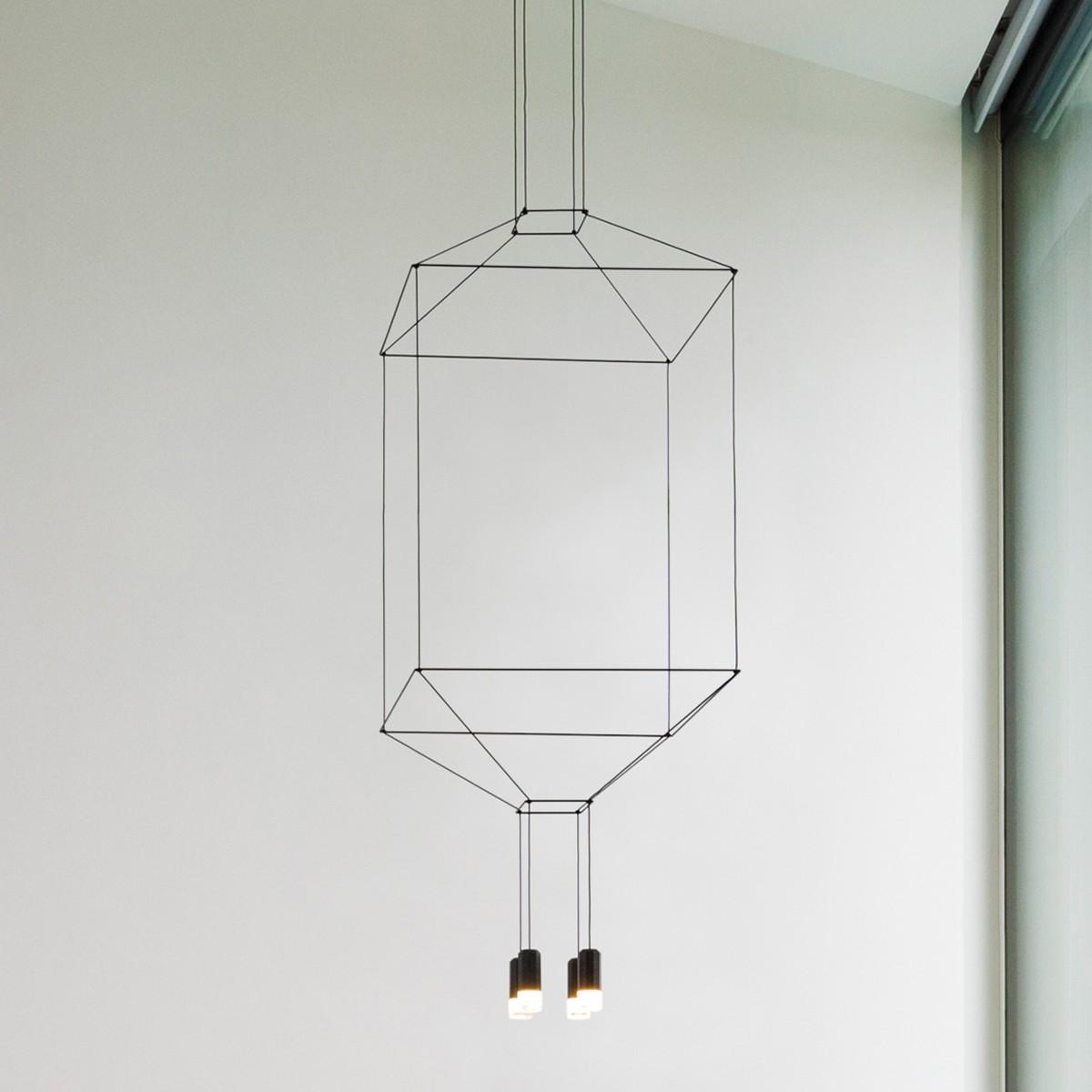 Vibia Wireflow Pendelleuchte, 4-flg., 80 x 80 cm, schwarz