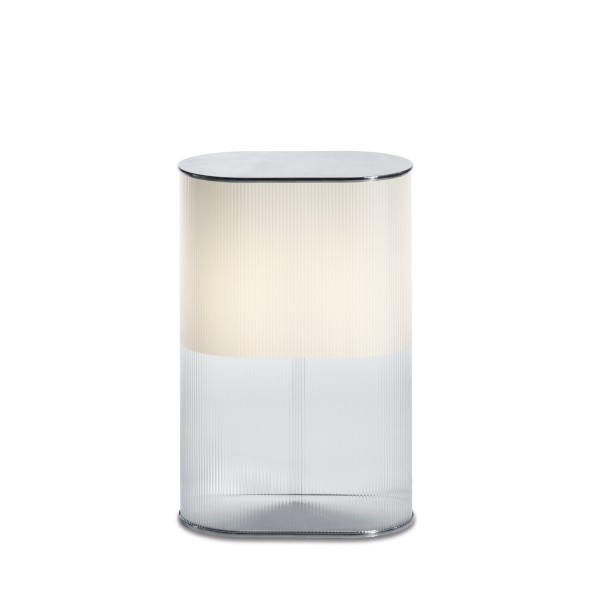 Belux Leia-48 Tisch- / Bodenleuchte, satiniert/transparent