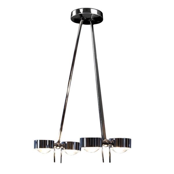 Top Light Puk Ceiling Sister Twin, 100 cm, Chrom, Glas satiniert / Linse klar