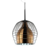 Cage Grande Sospensione, Gitterstruktur: braun, Glas: bronzefarben