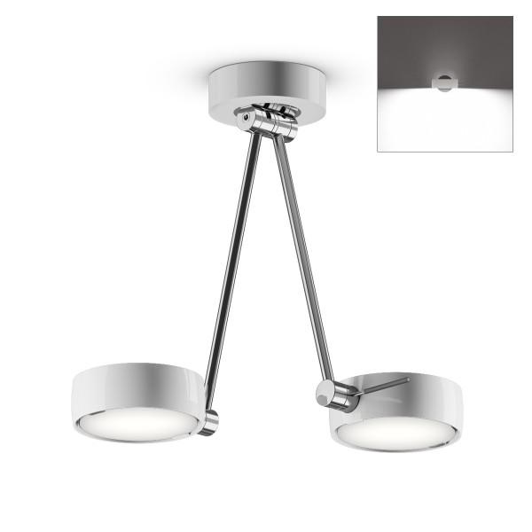 Occhio Sento B LED soffitto due up, 30 cm, Chrom / weiß glänzend