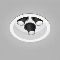 Helestra Run LED Deckeneinbaustrahler, 3-flg., weiß, Spots: schwarz