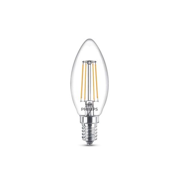 Philips LED Classic Kerze E14 4 W, warmweiß, klar