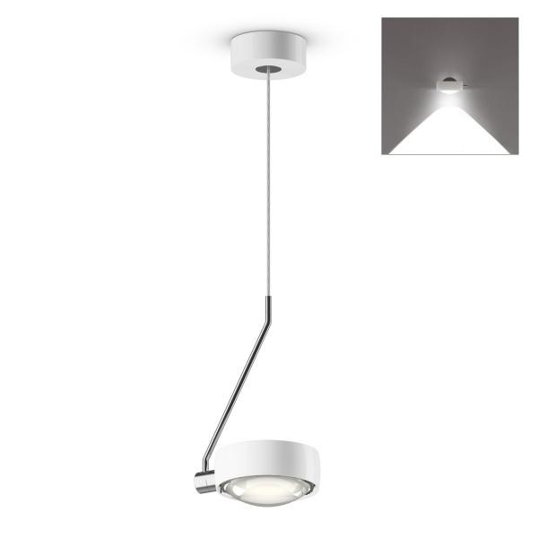 Occhio Sento C LED filo singolo up Pendelleuchte, Chrom / weiß glänzend