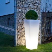 Epstein-Design Quadro Außenleuchte / Pflanzgefäß, weiß, Höhe: 100 cm