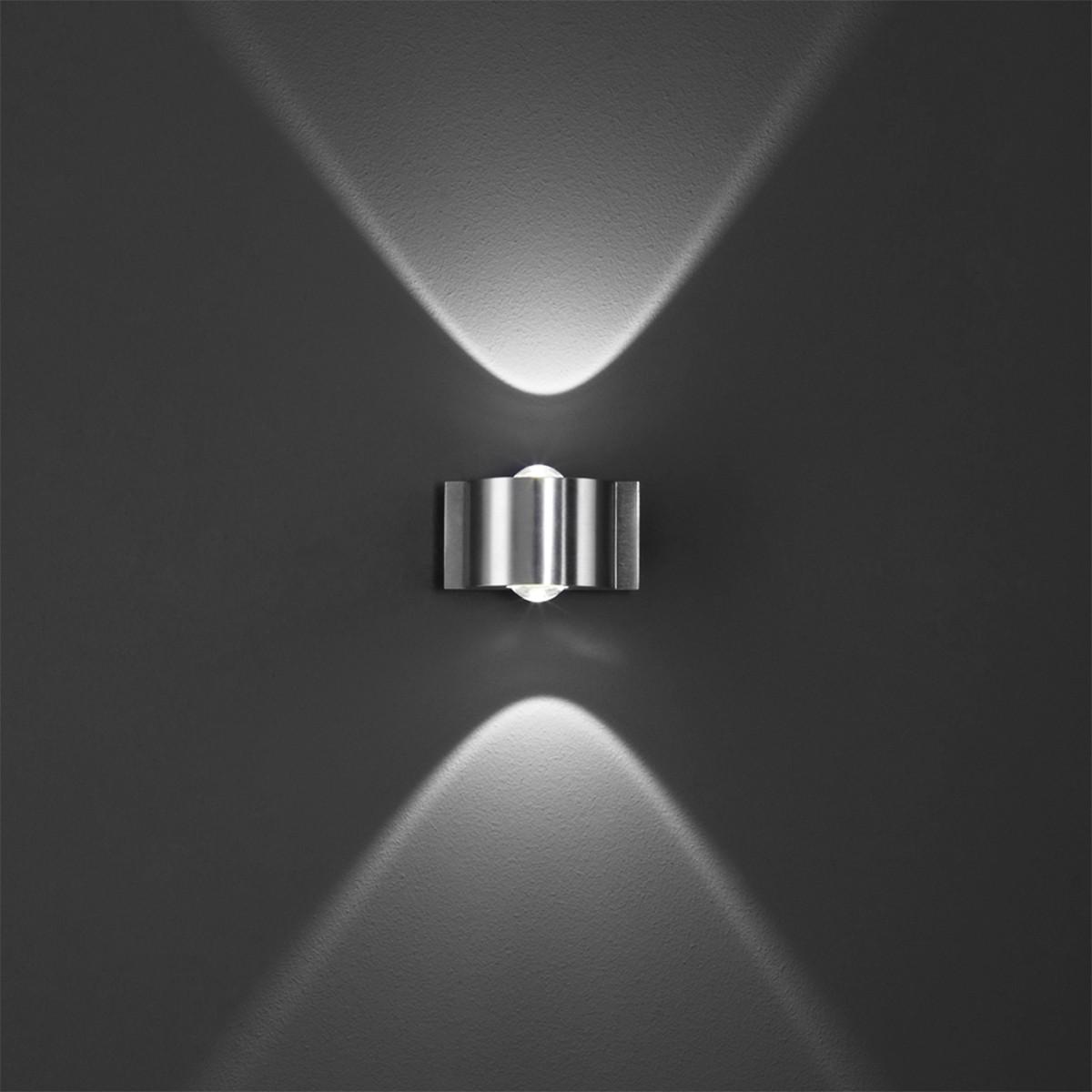 B-Leuchten Stream LED Wandleuchte, 2-flg., Aluminium