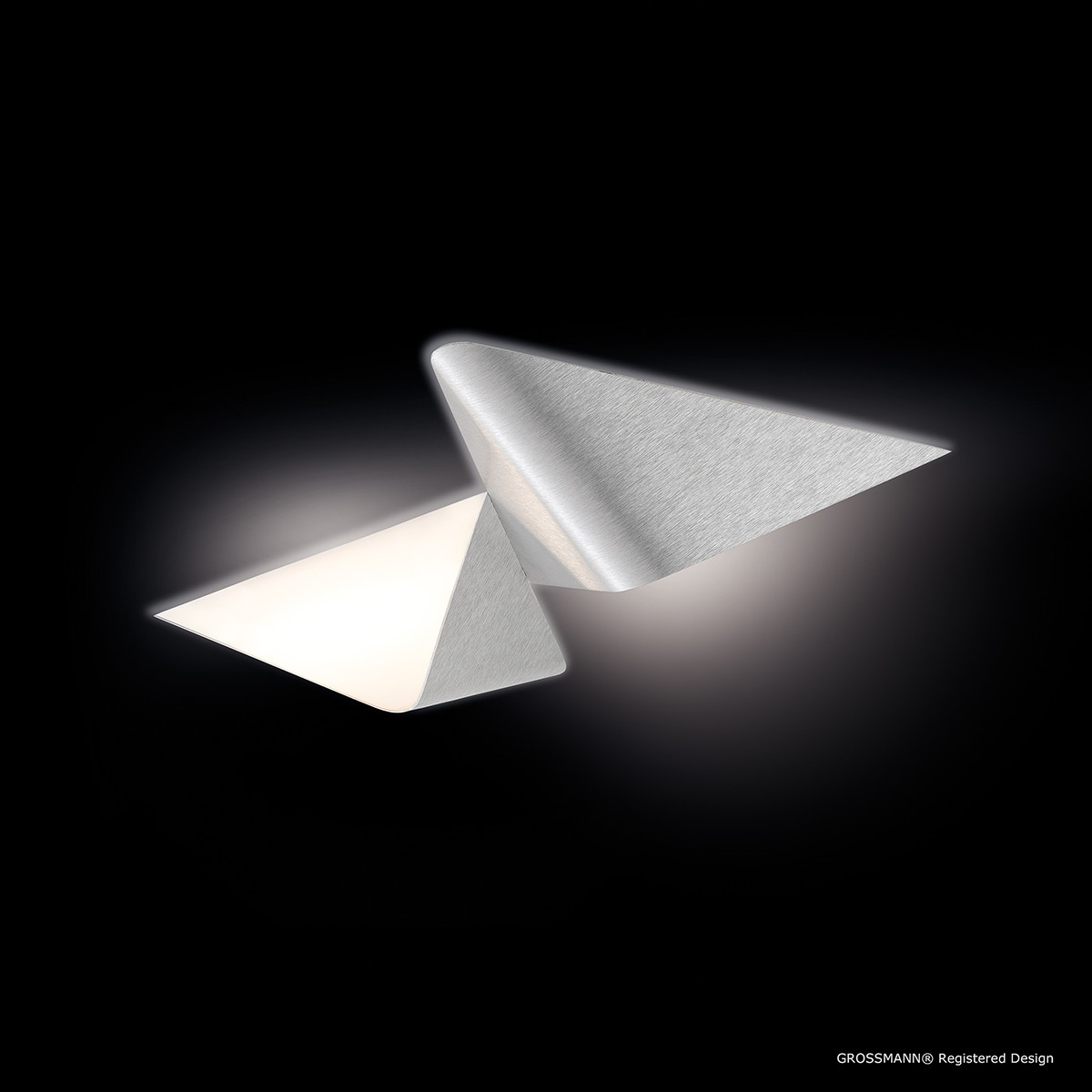 Grossmann Delta Wand- / Deckenleuchte, 2-flg., Aluminium gebürstet