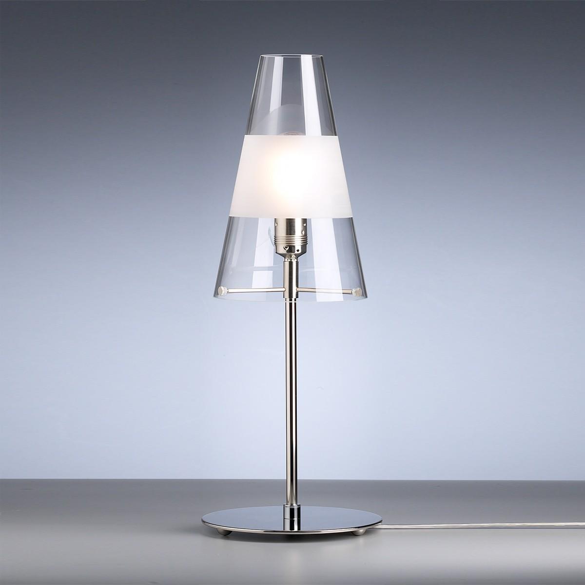 Tecnolumen TLWS 03 Tischleuchte, Gestell: Nickel, Glas: Klarglas mit mattem Ring